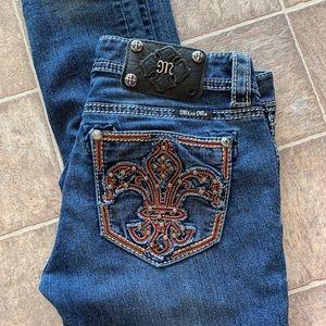 Miss Me skinny jeans w/ orange detail